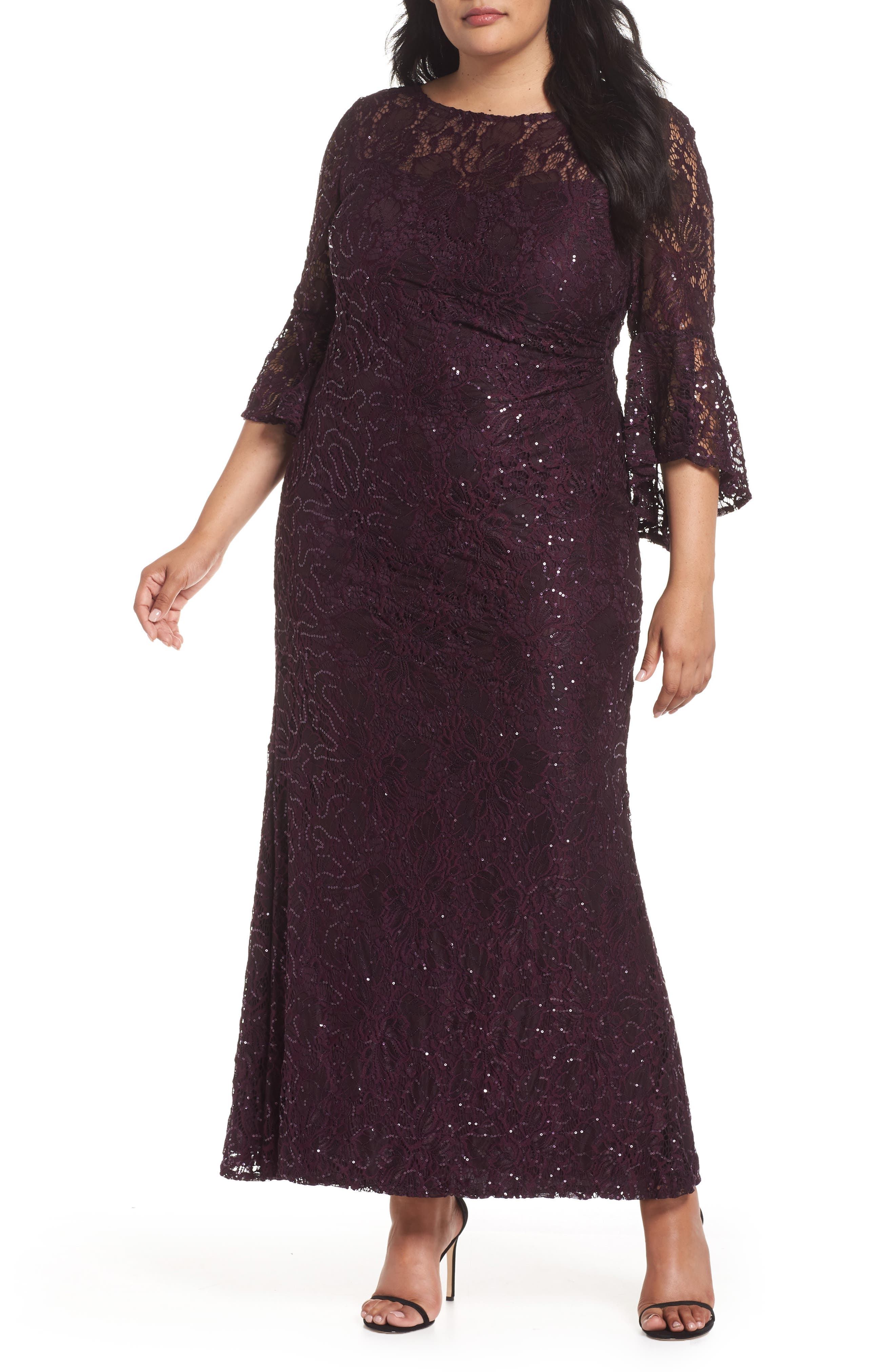 1920s Party Dresses, Great Gatsby Gowns, Prom Dresses Plus Size Womens Morgan  Co. Lace Bell Sleeve Gown Size 14W - Purple $139.00 AT vintagedancer.com