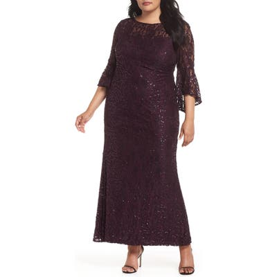 Plus Size Morgan & Co. Lace Bell Sleeve Gown, Purple