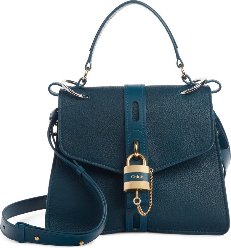 CHLOÉ Aby Medium Leather Shoulder Bag, Main, color, NAVY INK