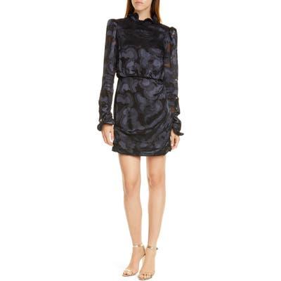 Saloni Rina Print Silk Blend Minidress, Black