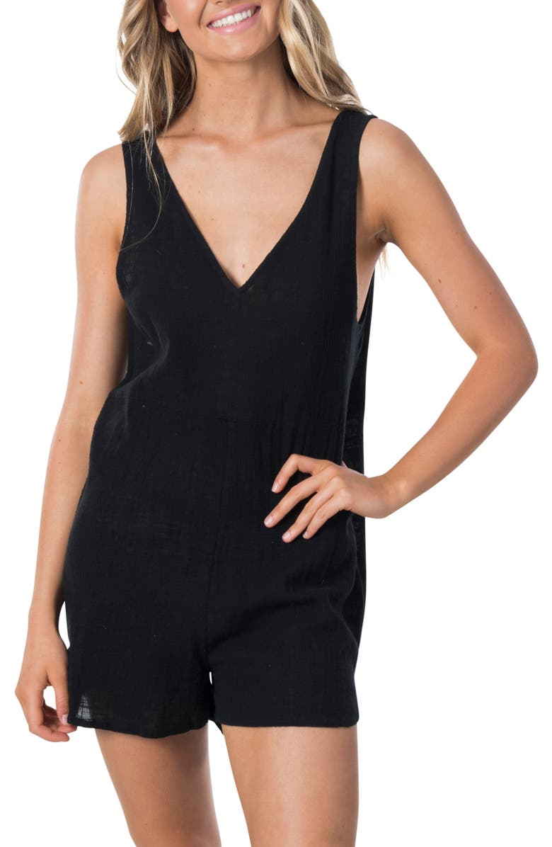 RIP CURL Holly Sleeveless Romper, Main, color, BLACK