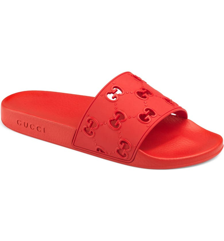 GUCCI Pursuit GG Logo Slide Sandal, Main, color, RED/ CORAL