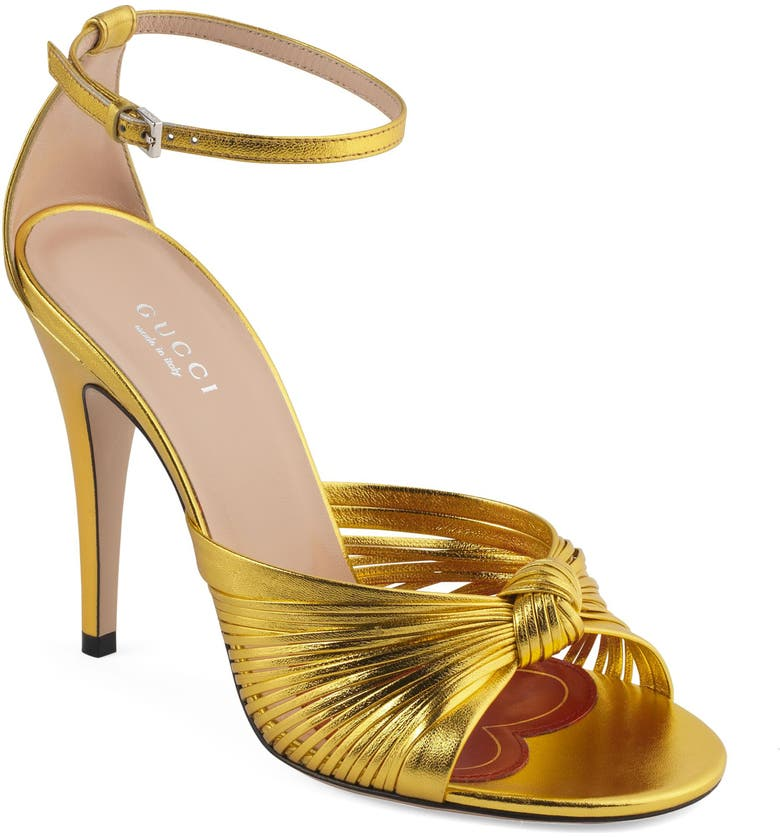 GUCCI Crawford Knot Sandal, Main, color, GOLD
