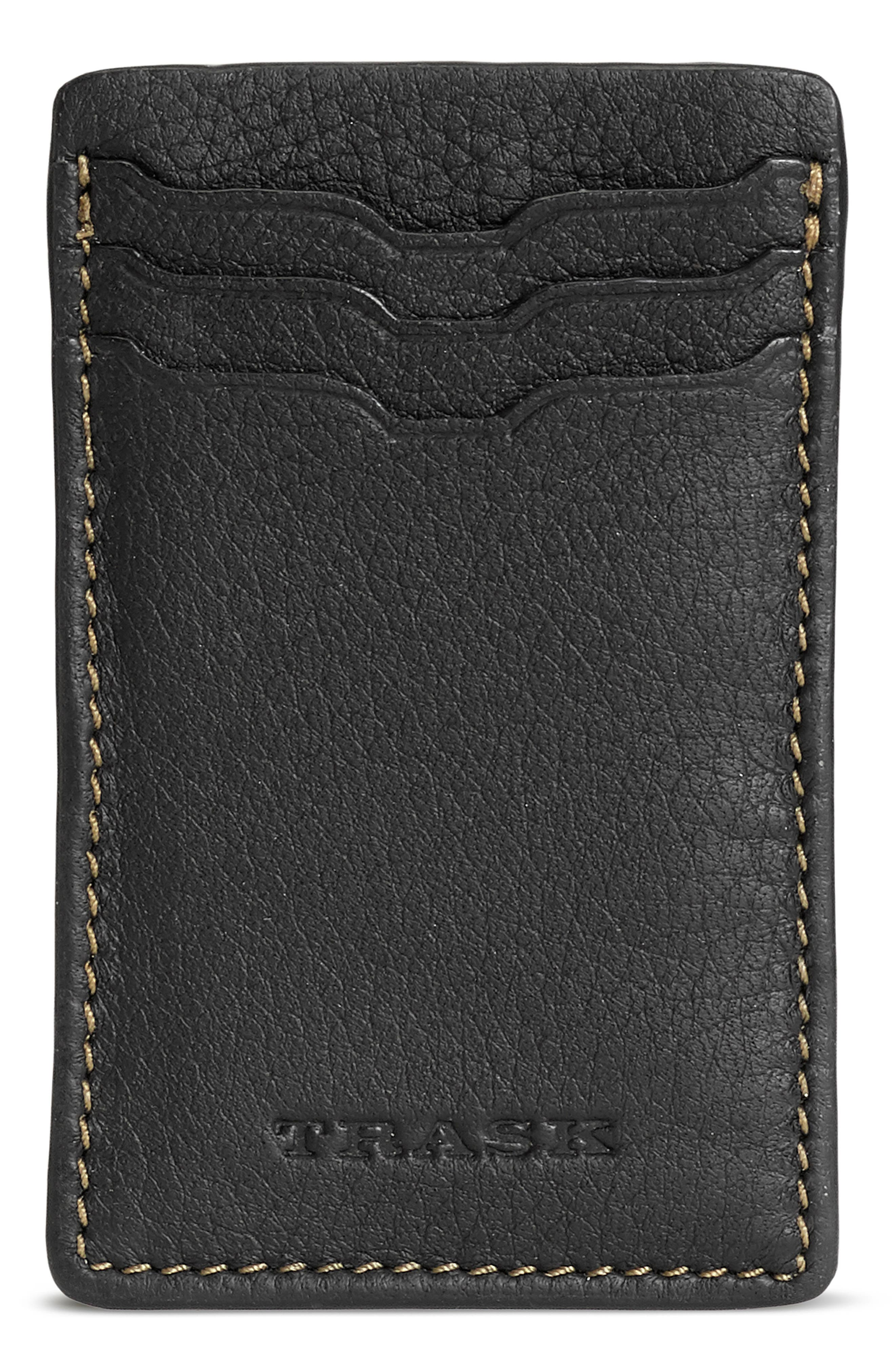 Built from Norwegian elk or American bison leather, this handsome wallet offers a fusion of form and function with easy appeal. RFID shielding helps protect your personal information. Style Name: Trask Jackson Leather Front Pocket Wallet. Style Number: 5995818. Available in stores.