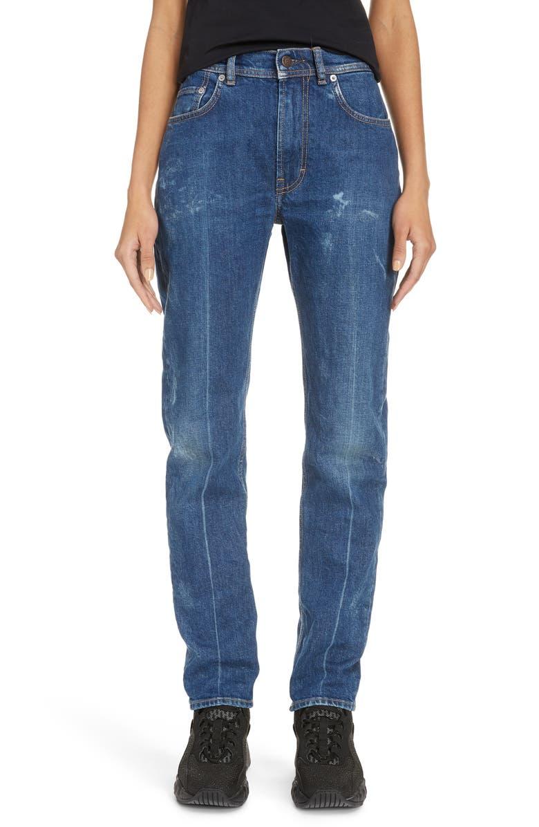 ACNE STUDIOS Melk Creased High Waist Slim Crop Jeans, Main, color, DARK BLUE