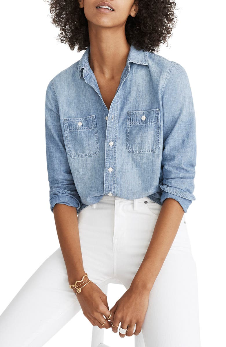 MADEWELL Classic Ex-Boyfriend Chambray Shirt, Main, color, 400