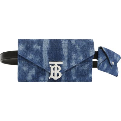 Burberry Deer Print Quilted Denim Wallet & Card Case Belt Bag - Blue