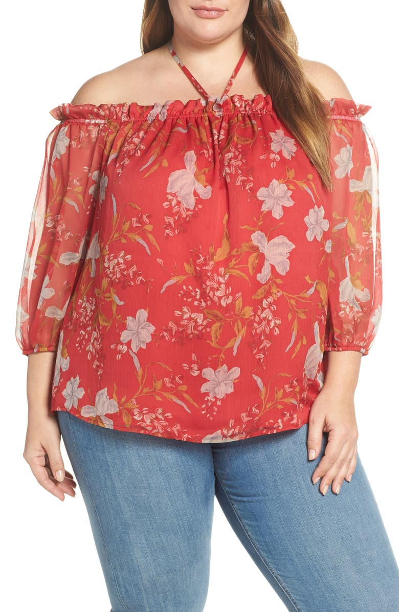 VINCE CAMUTO Wildflower Off the Shoulder Top, Main, color, CORAL SUNSET