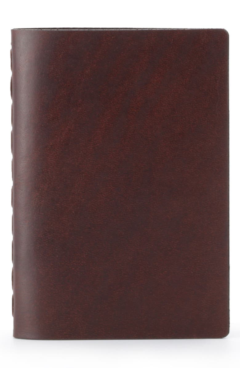 EZRA ARTHUR Small Leather Notebook, Main, color, WHISKEY
