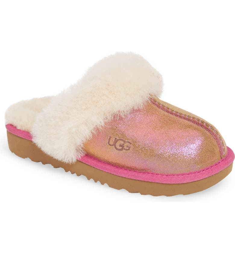 UGG<SUP>®</SUP> Cozy II Shimmer Genuine Shearling Slipper, Main, color, CHESTNUT/ FUCHSIA