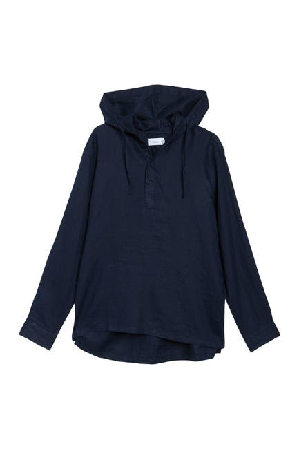 Image of Onia Kai Hooded Linen Pullover