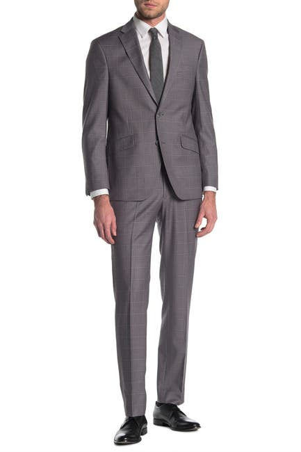 Image of Kenneth Cole Reaction Windowpane Grey Two Button Slim Fit Suit