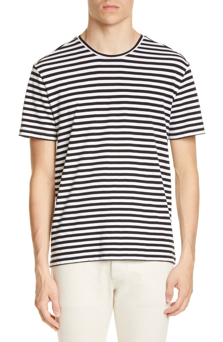 JOHN VARVATOS Slim Fit Stripe T-Shirt, Main, color, BLACK/WHITE