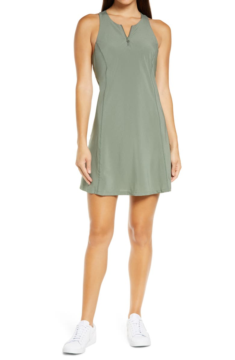 ZELLA Sun's Out Exercise Dress, Main, color, GREEN AGAVE