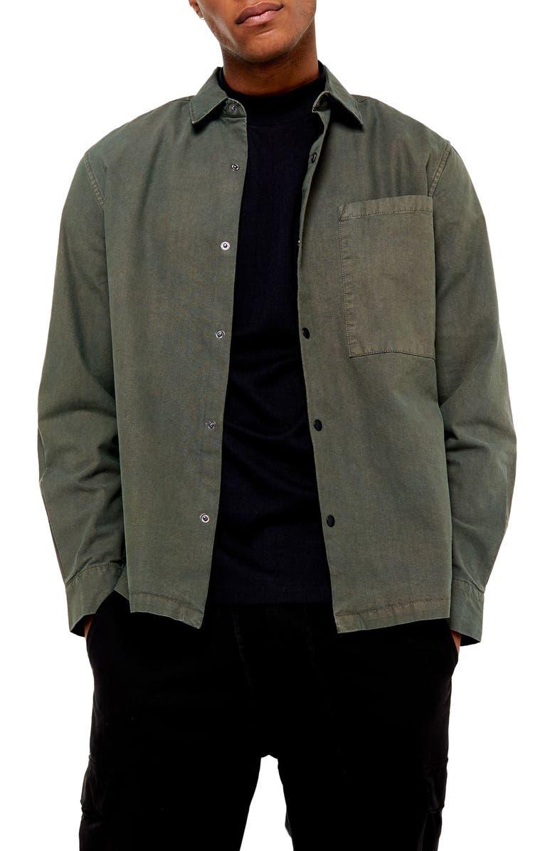 TOPMAN Oversize Fit Snap-Up Shirt, Main, color, OLIVE