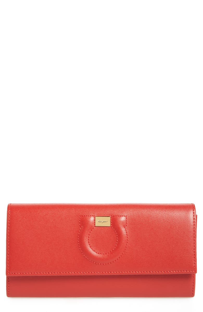 SALVATORE FERRAGAMO Gancio Continental Wallet, Main, color, LIPSTICK/ NEW BEIGE