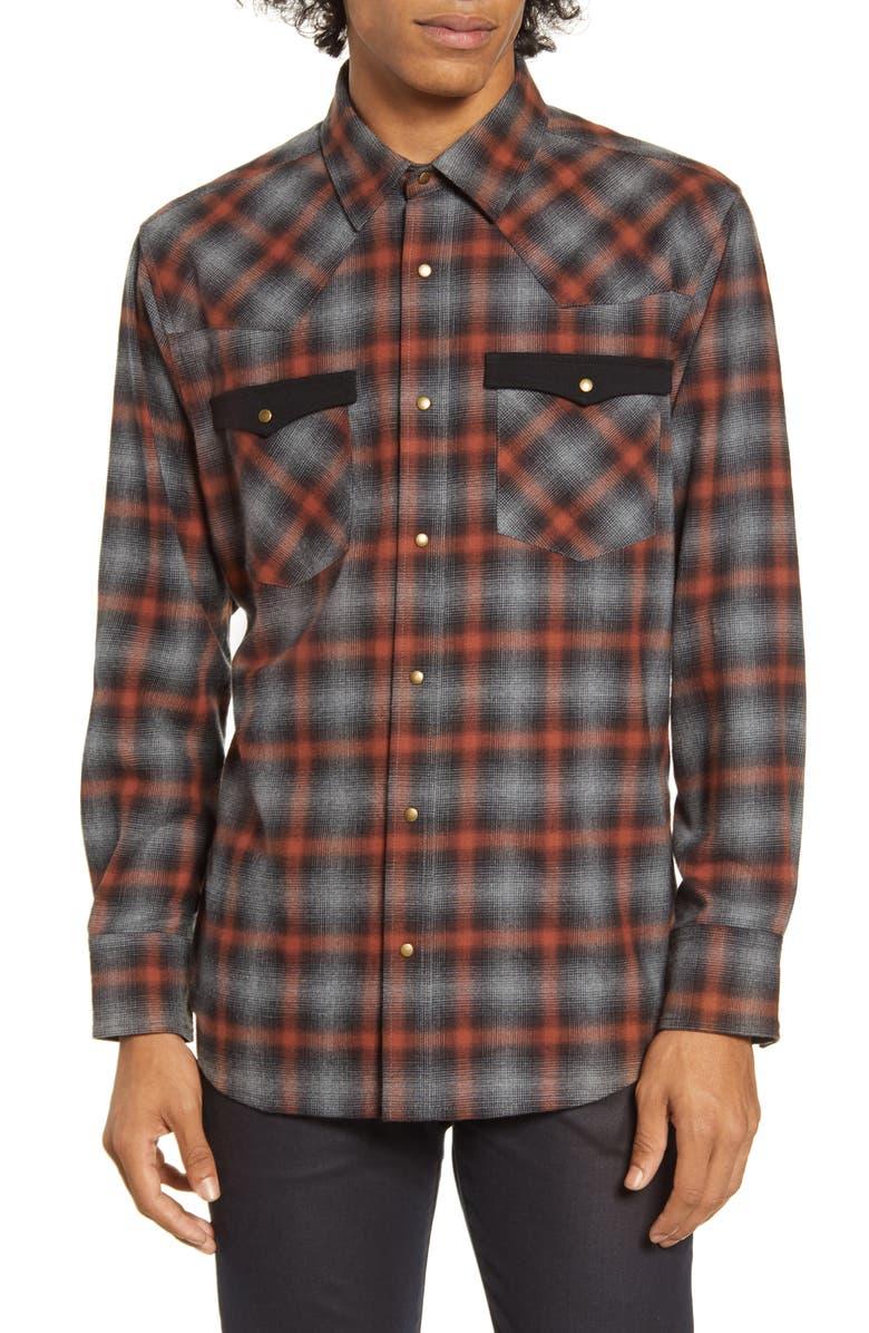 BARKING IRONS x Bob Dylan Upstate Regular Fit Plaid Shirt, Main, color, 055