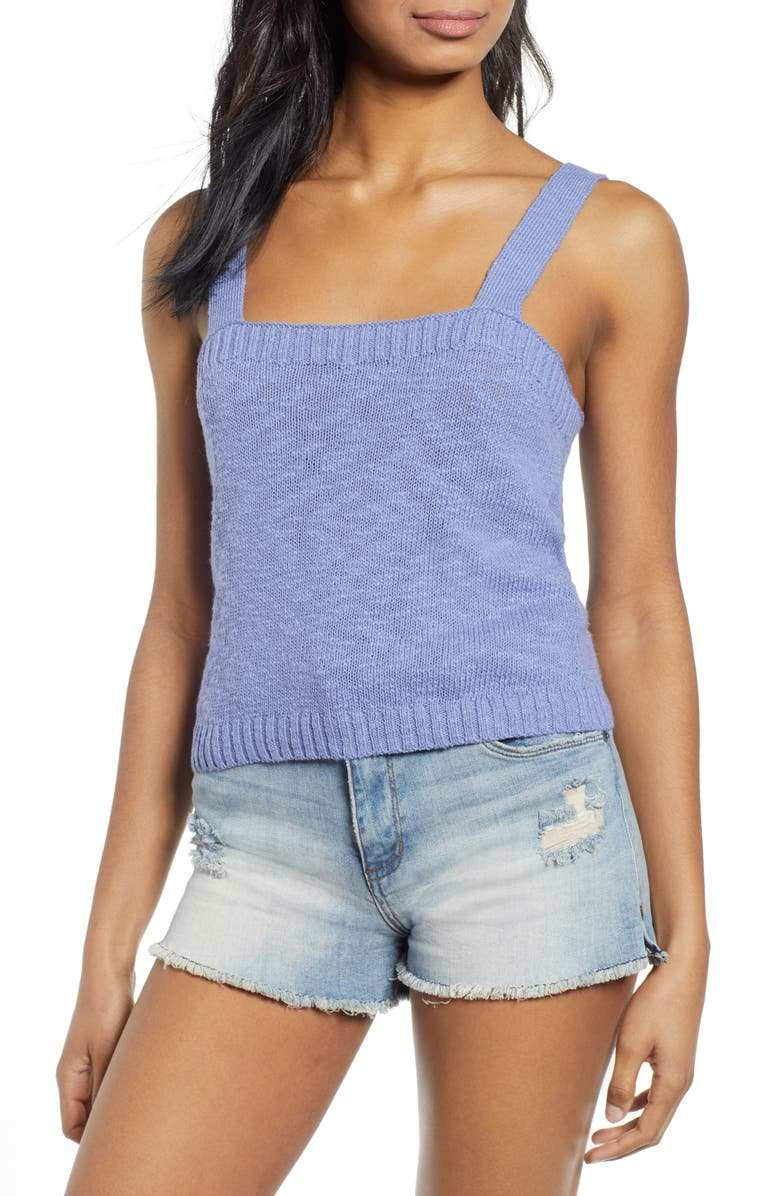 BP. Straight Up Sweater Tank Top, Main, color, BLUE IOLITE