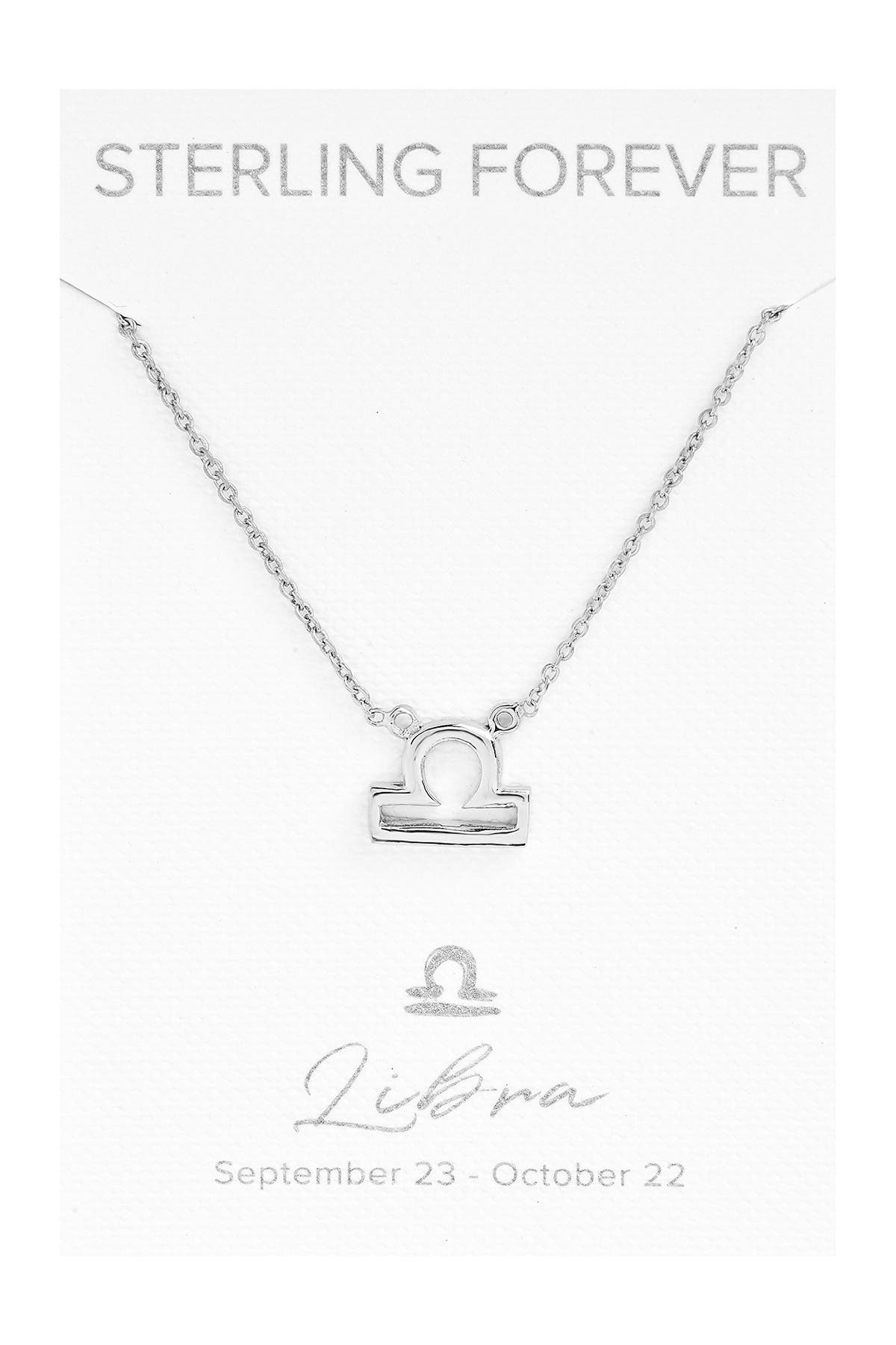 Image of Sterling Forever Rhodium Plated Zodiac Pendant Necklace - Libra