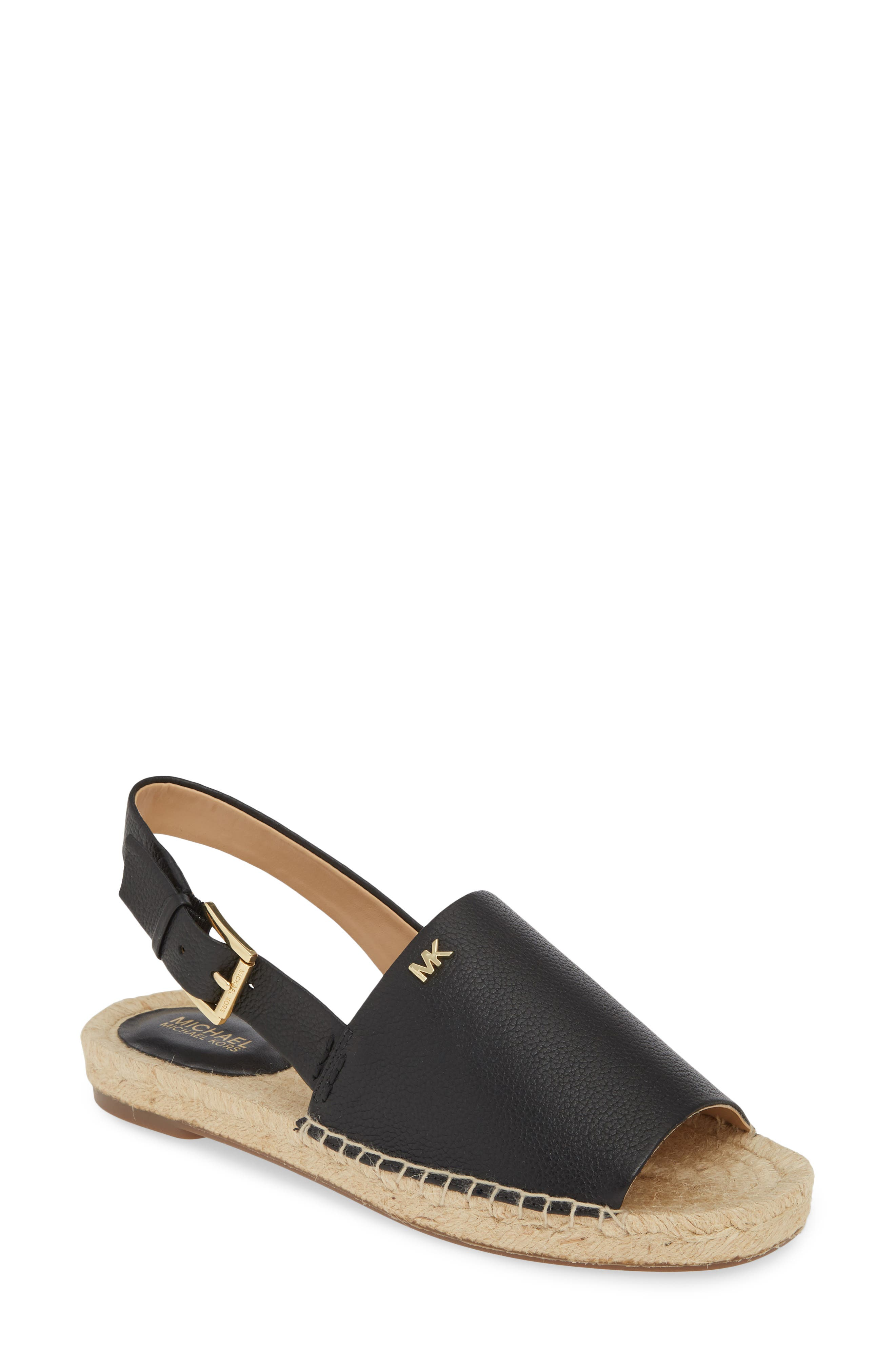 Fisher Espadrille Sandal, Main, color, BLACK TUMBLED LEATHER