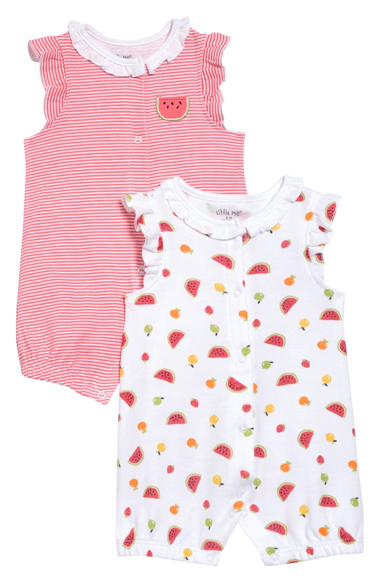 LITTLE ME Fruit 2-Pack Rompers, Main, color, RED