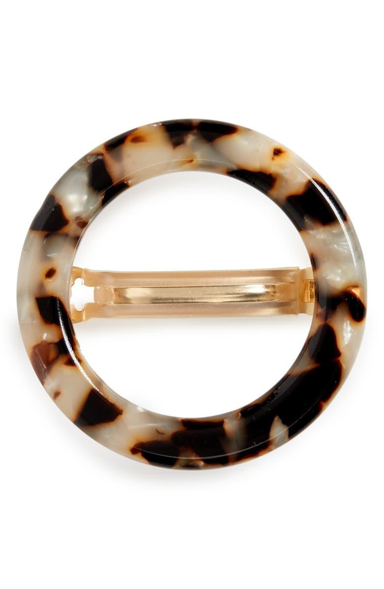 MADEWELL Acrylic Circle Barrette, Main, color, TORT MULTI