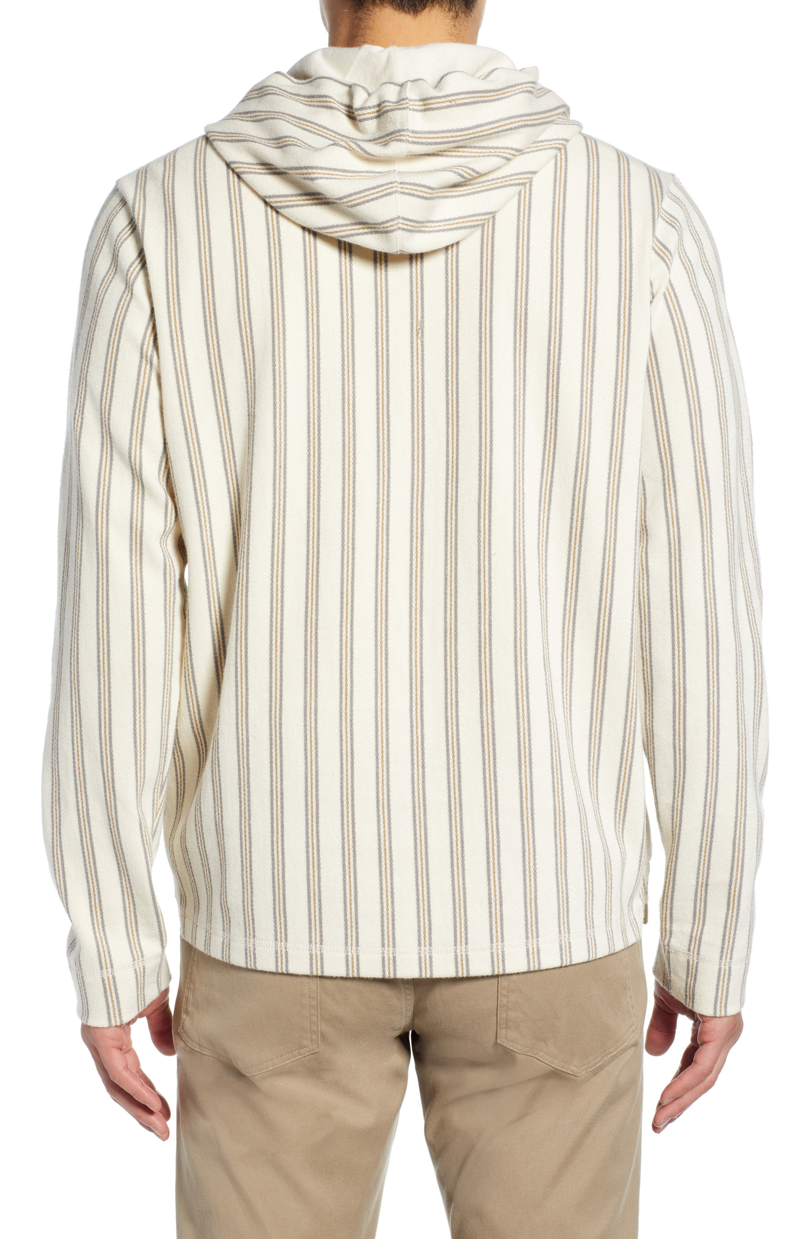 ,                             Stripe Slim Fit Half Zip Hoodie,                             Alternate thumbnail 2, color,                             SAIL/ DOVE GREY