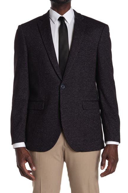 Image of Vince Camuto Navy Woven Two Button Notch Lapel Sport Coat
