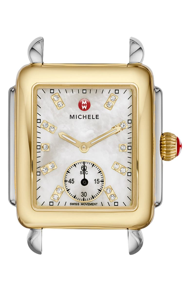 MICHELE Deco 16 Diamond Dial Two-Tone Watch Case, 29mm x 31mm, Main, color, 711