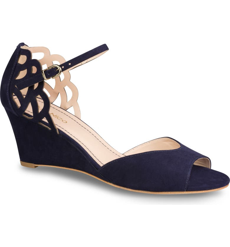 KLUB NICO Karina Cutout Sandal, Main, color, NAVY NUBUCK LEATHER