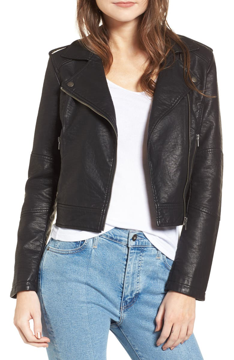 CUPCAKES AND CASHMERE Burwell Faux Leather Moto Jacket, Main, color, 001