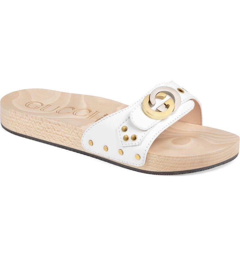 GUCCI Shiner Interlocking-G Slide Sandal, Main, color, GREAT WHITE