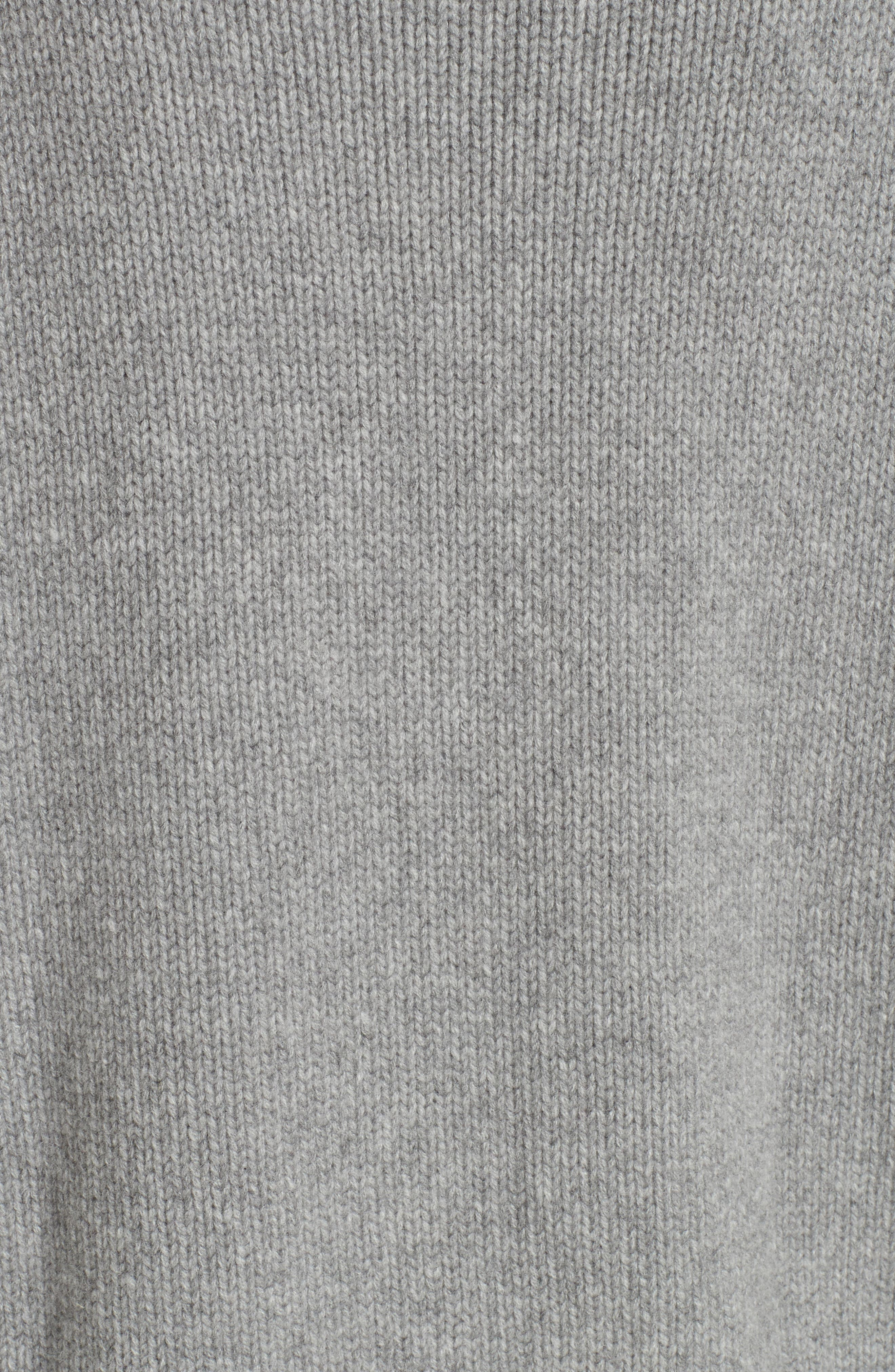 ,                             Varsity Cashmere Sweater,                             Alternate thumbnail 5, color,                             GREY MARLE/ BLACK