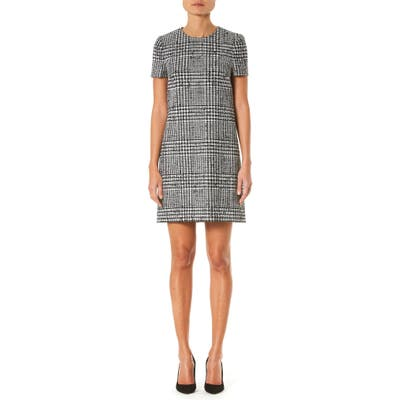 Carolina Herrera Glen Plaid Wool & Silk Shift Dress, White