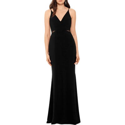 Xscape Illusion Inset Gown, Black