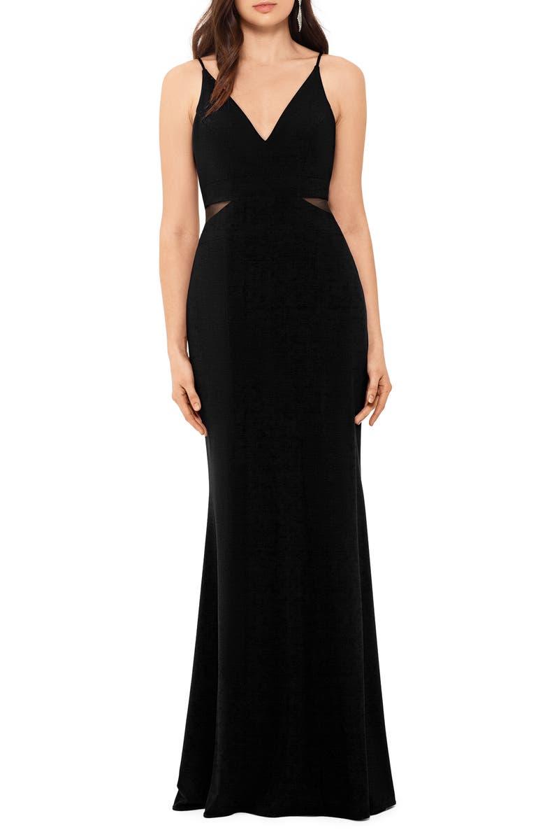 XSCAPE Illusion Inset Gown, Main, color, BLACK
