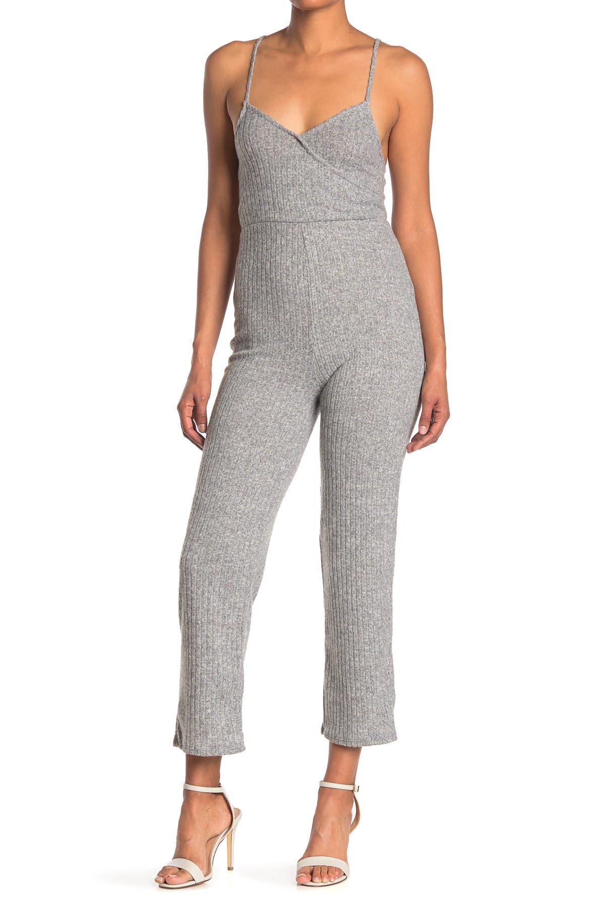 Image of Velvet Torch Heathered Rib Knit Jumpsuit