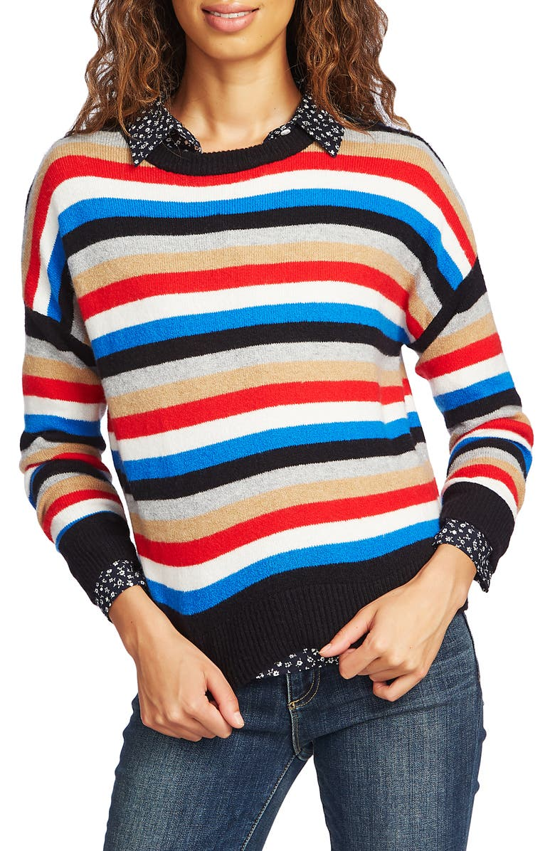 COURT & ROWE Stripe Crop Sweater, Main, color, PREPPY RED