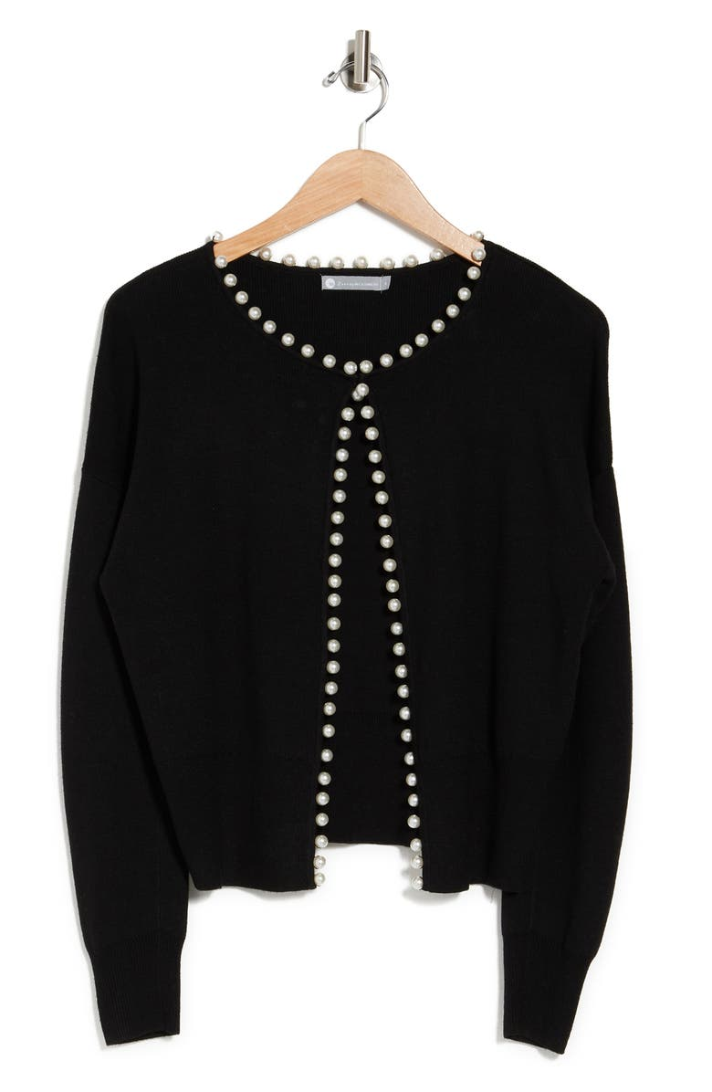 IN CASHMERE Pearl Embellished Knit Cardigan, Main, color, BLACK