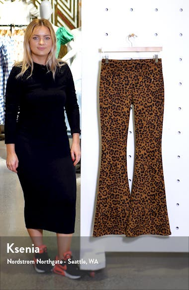 Leopard Print Faux Suede Flare Pants, sales video thumbnail