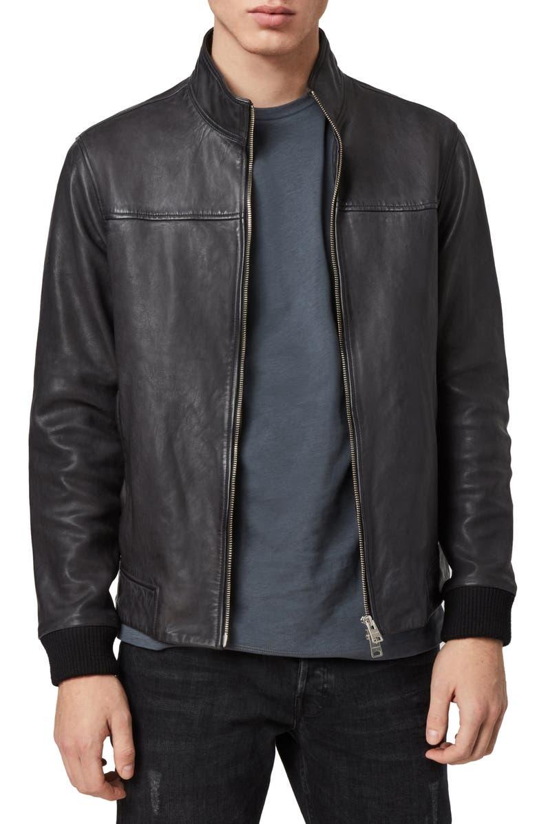 ALLSAINTS Astoria Leather Jacket, Main, color, BLACK