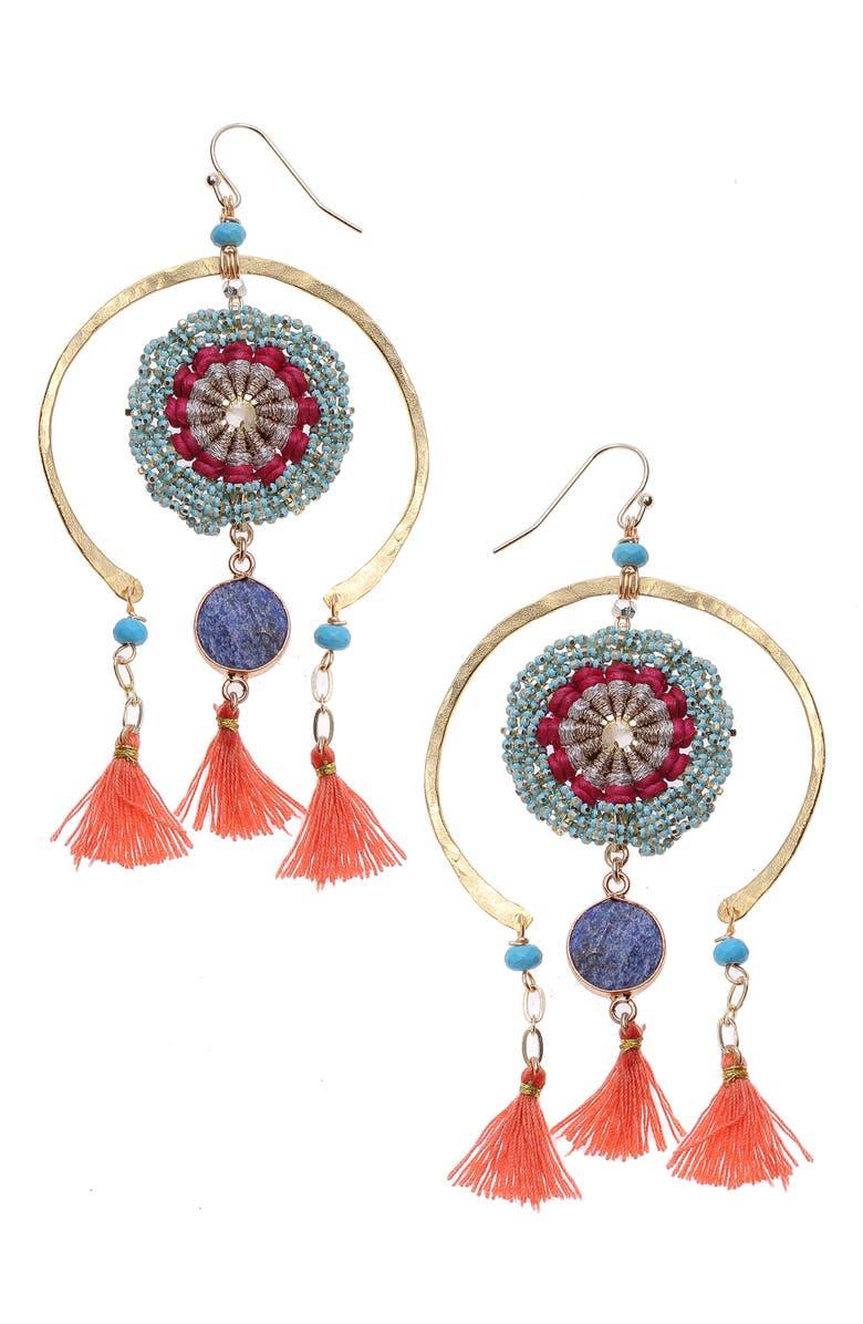 NAKAMOL DESIGN Beaded Fringe Earrings, Main, color, GREEN/ RED/ BLUE MULTI