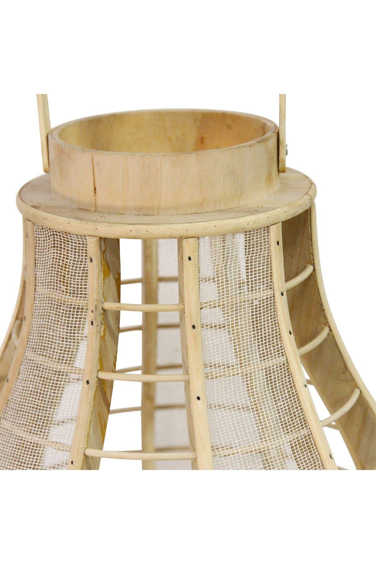 Image of Stratton Home Light Brown/White Wood & Burlap Mesh Lantern