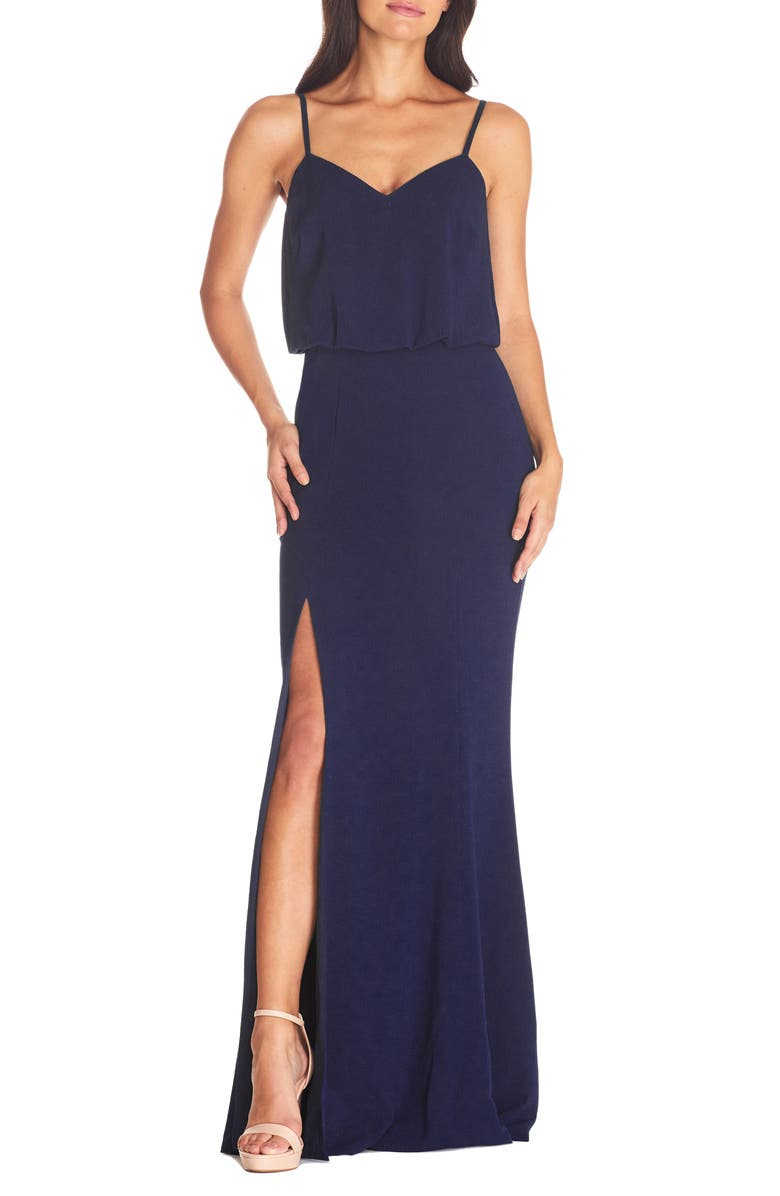 DRESS THE POPULATION Gracelyn Blouson Jersey Gown, Main, color, MIDNIGHT BLUE