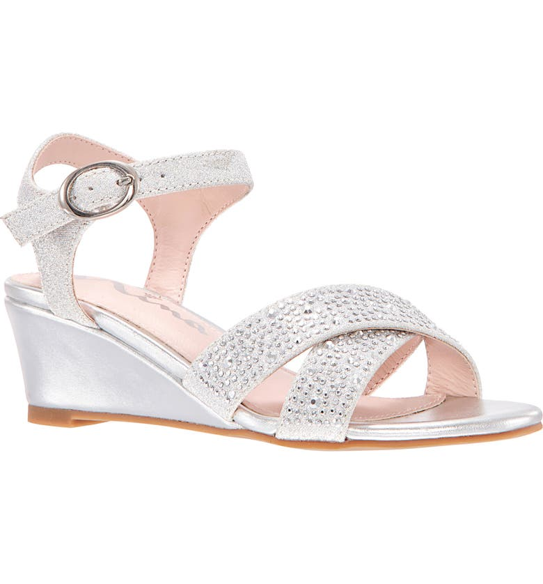 NINA Skarlet Glitter Wedge Sandal, Main, color, SILVER METALLIC