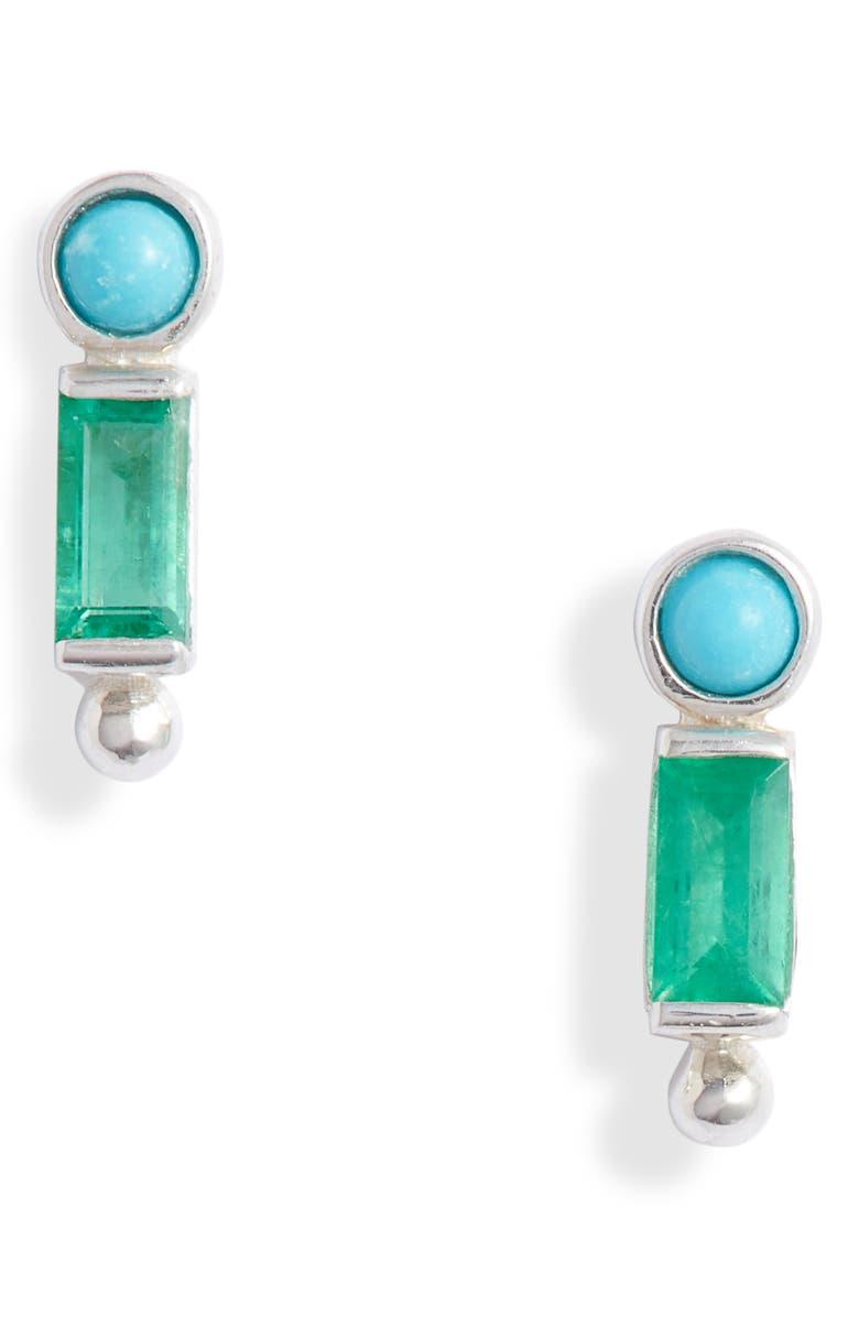 ANZIE Dew Drop Bezel Stud Earrings, Main, color, SILVER/ GREEN/ BLUE