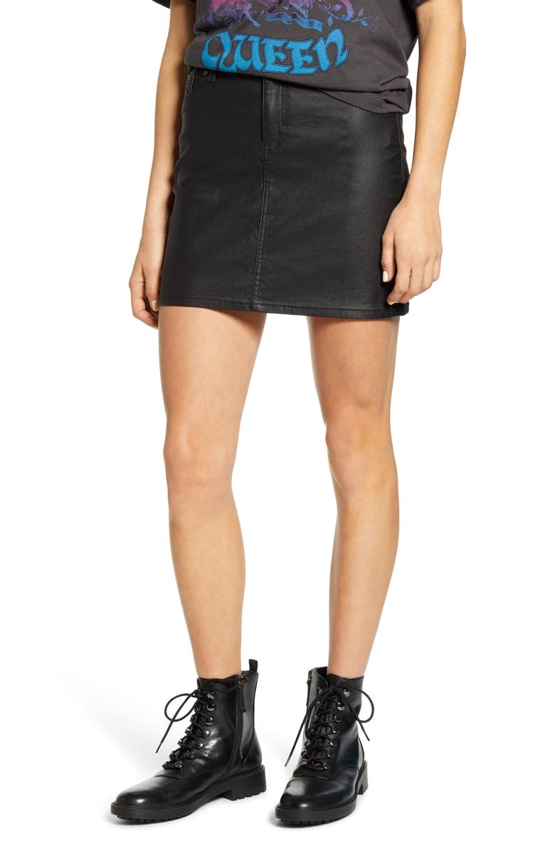 1822 DENIM Coated Miniskirt, Main, color, BLACK