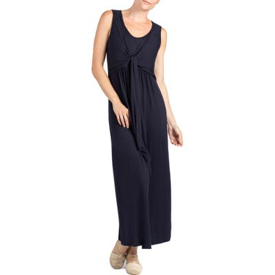 Savi Mom Modesto Maternity/nursing Maxi Dress, Blue