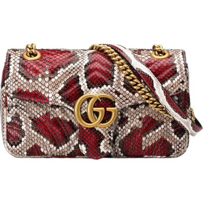 Gucci Marmont 2.0 Genuine Python Shoulder Bag - Red