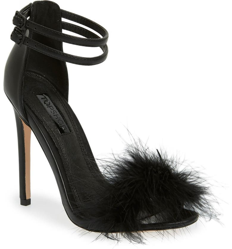 TOPSHOP 'Reese' Feather Sandal, Main, color, 001